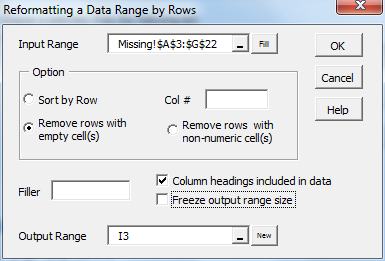 Reformat range by rows