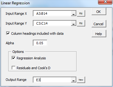 Linear regression dialog box